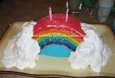 Homemade Rainbow In The Clouds Cake