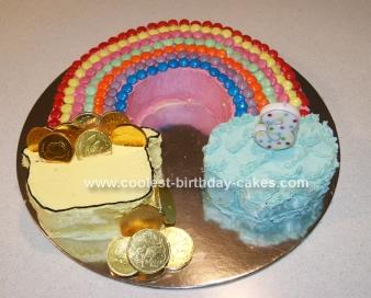 Homemade Rainbow Cake with Pot of Gold Birthday Cake