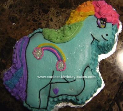 Homemade Rainbow Dash My Little Pony Cake