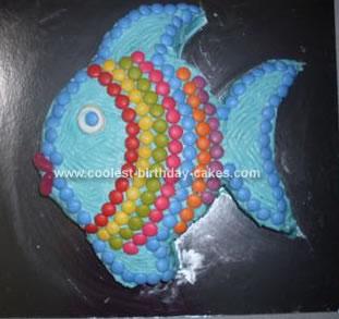 Homemade Rainbow Fish Birthday Cake
