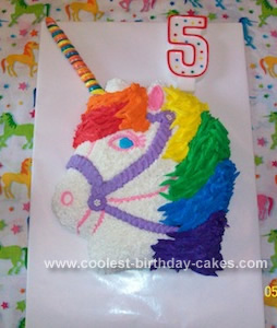 Homemade  Rainbow Unicorn Birthday Cake