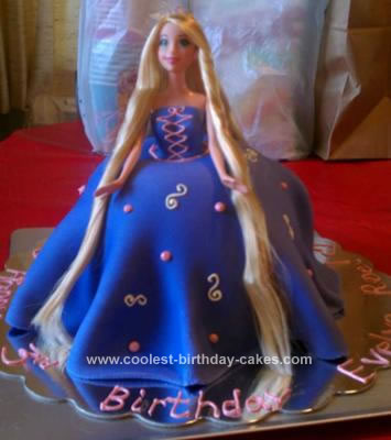 Homemade Rapunzel Barbie Birthday Cake