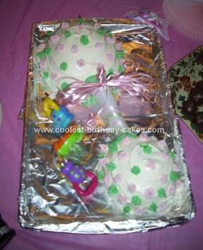 Homemade  Rattle Baby Shower Cake