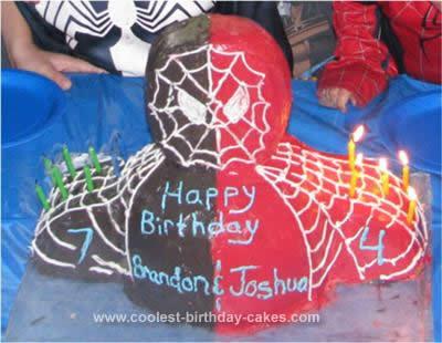 Homemade Red and Black Spiderman Birthday Cake
