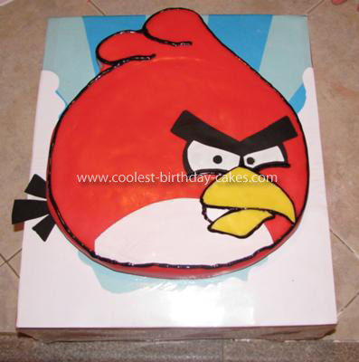 I Baked The Chocolate Cake As A Single Layer In 10 Square Pan Then Using An Enlarged Image Of Red Bird Made Paper Cut Out