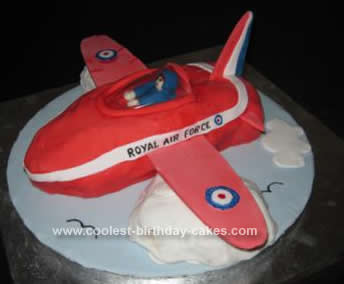 Homemade Red Arrow Plane Cake