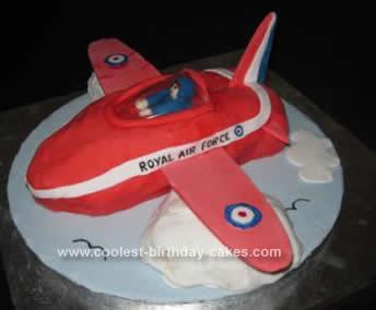 Homemade Red Arrow Plane Cake
