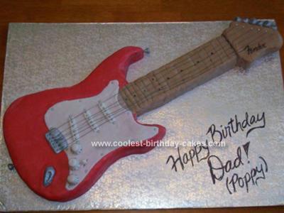 Homemade Fender Straticaster Guitar Cake