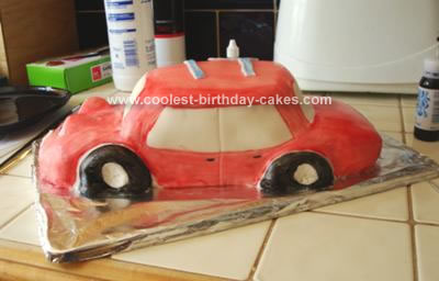 Homemade Red Hot Car Cake