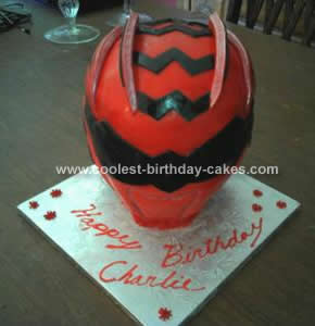 Homemade Red Power Ranger Birthday Cake