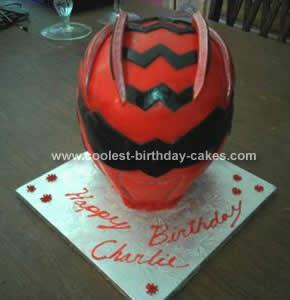 Homemade Red Power Ranger Birthday Cake