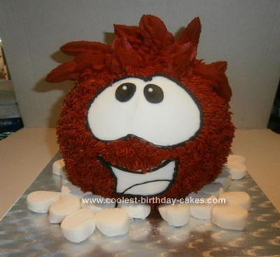 Homemade Red Puffle Cake