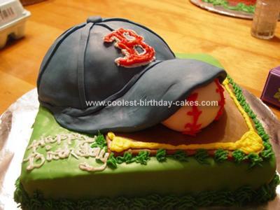 Homemade Red Sox Birthday Cake