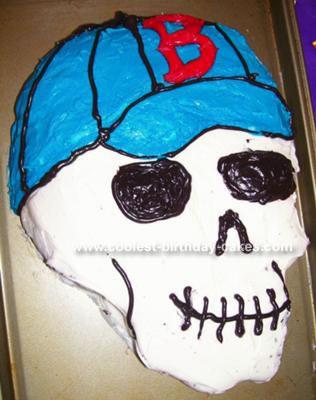 Red Sox Skull Cake