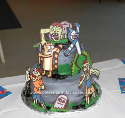 Homemade Regular Show Zombie Birthday Cake