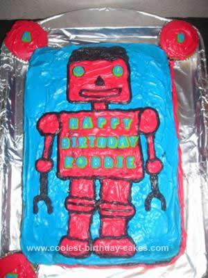 Homemade Robot Birthday Cake