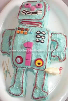 Homemade Robot Birthday Cake Design