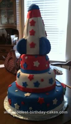 Homemade Rocket/Patriotic Cake