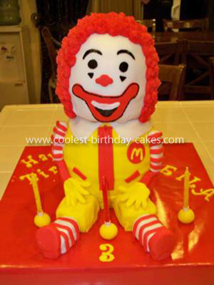 Homemade Ronald McDonald Birthday Cake