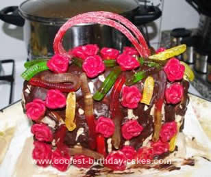 Homemade Rose Garden Theme Handbag Cake