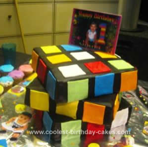 Homemade Rubik Cube Birthday Cake Design