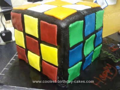 Homemade Rubiks Cube Cake