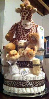 Homemade Safari Diaper Cake