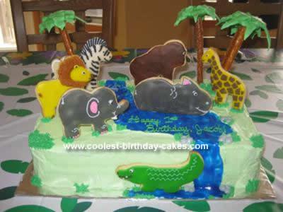 Homemade Safari Scene Birthday Cake