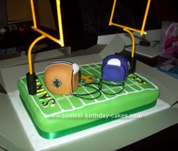 Homemade Saints Vs Vikings Football Cake