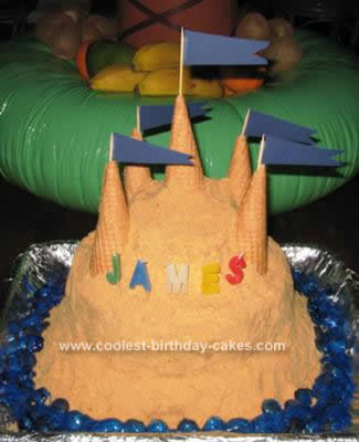 Homemade Sand Castle Birthday Cake