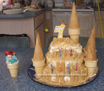 Cool Homemade Sand Castle Birthday Cake With Ice Cream Cones