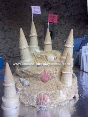 Homemade Sandcastle Birthday Cake