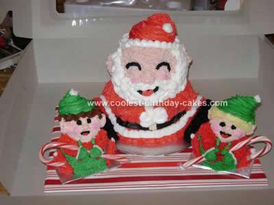 Homemade Santa and Elves Holiday Cake
