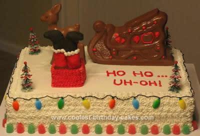Homemade Santa Fell in Chimney Cake