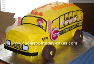 Prime Coolest School Bus Cake Personalised Birthday Cards Cominlily Jamesorg