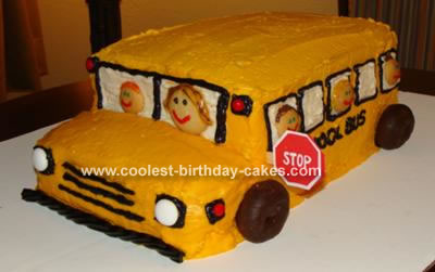 Strange Coolest School Bus Cake Personalised Birthday Cards Cominlily Jamesorg