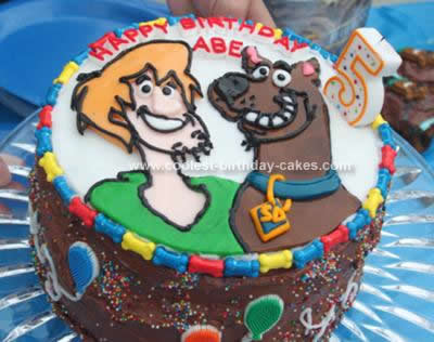 Homemade Scooby Doo and Shaggy Birthday Cake