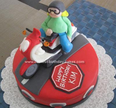 Homemade Scooter Birthday Cake