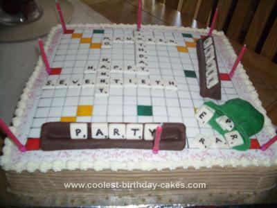 Homemade Scrabble Birthday Cake