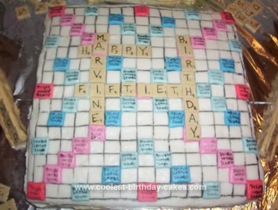 Homemade Scrabble Board Cake