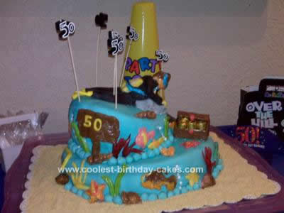 Homemade Scuba Diver 50th Birthday Cake