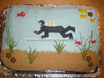 Homemade Scuba Diver Birthday Cake