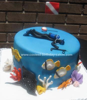 Homemade Scuba Diver Birthday Cake