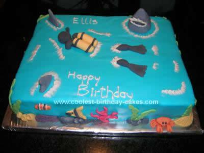 Homemade  Scuba Diving Birthday Cake Design