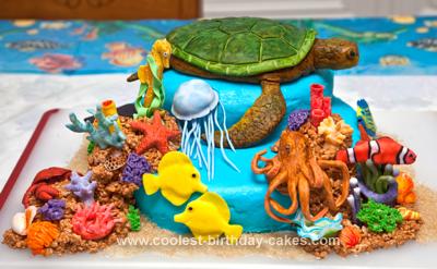 Terrific Coolest Sea Turtle Reef Cake Personalised Birthday Cards Veneteletsinfo