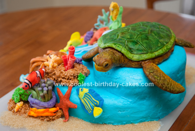 Swell Coolest Sea Turtle Reef Cake Personalised Birthday Cards Veneteletsinfo