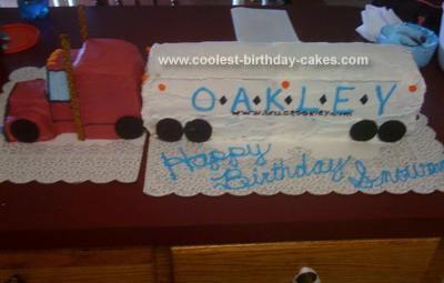 Homemade Semi Trailer Birthday Cake