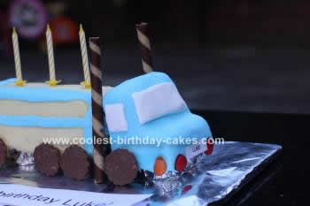 Homemade Semi Trailer Birthday Cake
