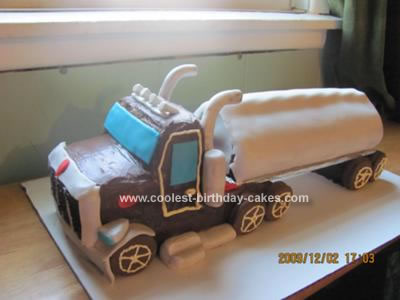 Homemade Semi Trailer Truck Cake
