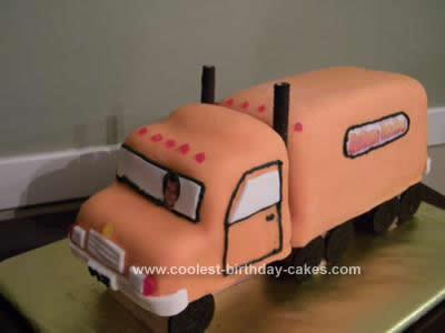 Homemade Semi Truck Birthday Cake Design